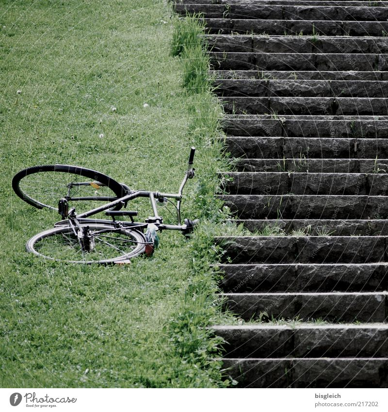 Green Calm Meadow Grass Gray Bicycle Stairs Lie Trip Vacation & Travel