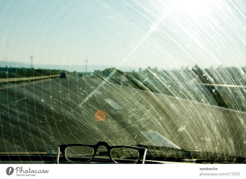 Dirty Road traffic Horizon Transport Perspective Driving Eyeglasses Travel photography Tracks Stripe Highway Traffic infrastructure Motoring Slice Dazzle