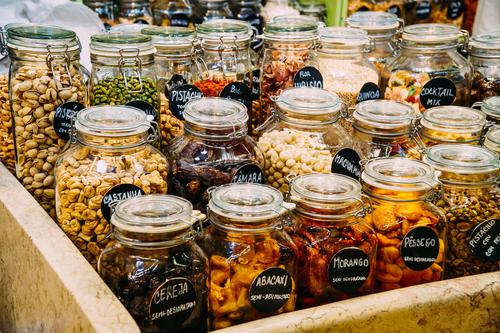 Dried Fruits In Glass Jars For Sale In Market Food Vegetable Herbs and spices Nutrition Eating Organic produce Vegetarian diet Diet Bottle Shopping Nature