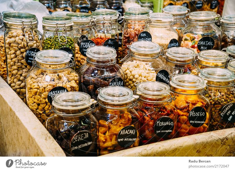 Dried Fruits In Glass Jars For Sale In Market Nature Eating Natural Food Nutrition Fresh Shopping Herbs and spices Vegetable Organic produce Meal Bottle Storage