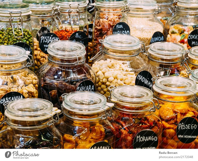 Dried Fruits In Glass Jars For Sale In Market Food Vegetable Nutrition Eating Organic produce Diet Shopping Container Fresh Healthy Natural Sweet Dry
