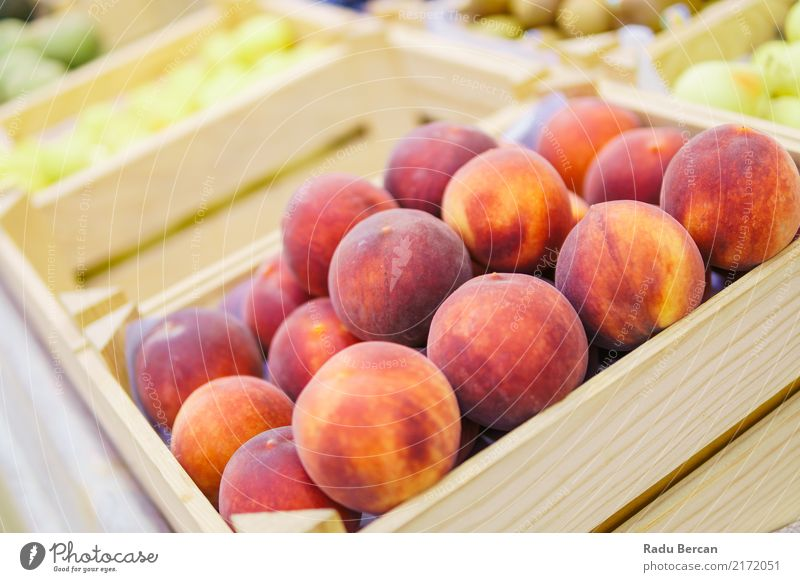 Peaches For Sale In Fruit Market Food Vegetable Nutrition Eating Organic produce Vegetarian diet Diet Shopping Nature Marketplace Box Container Wood To feed