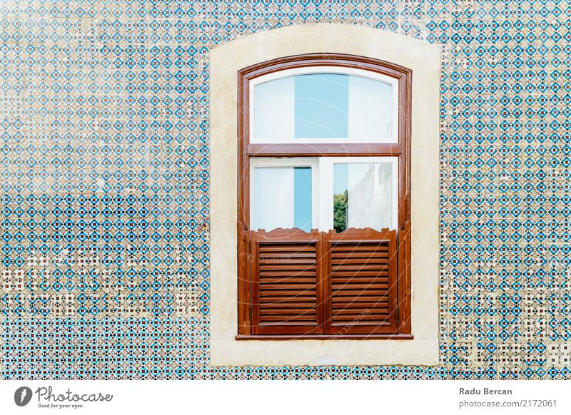 Vintage Wooden Window On Blue Tile Wall In Lisbon, Portugal Vacation & Travel Old Town Colour Beautiful House (Residential Structure) Architecture