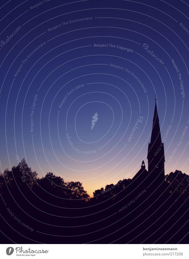 Johannes(church) Cloudless sky Horizon Sunrise Sunset Sunlight Tree Church Beautiful Religion and faith Tower Spire Church spire Blue Violet The Gospel