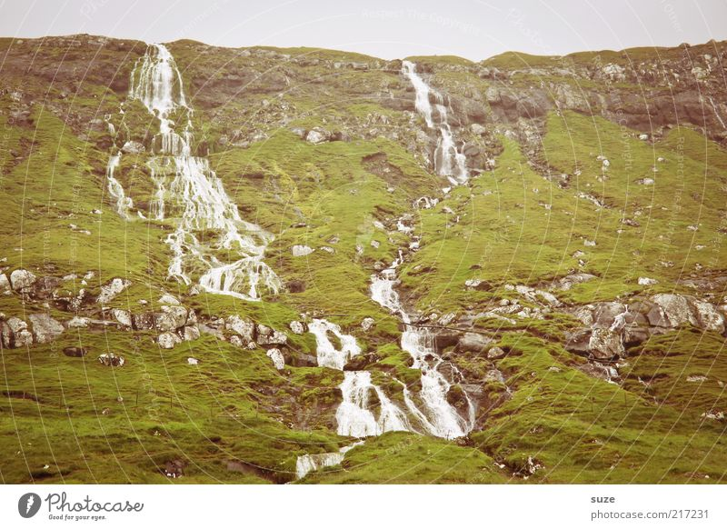 Water Green Mountain Cold Rock Weather Climate Wild Authentic Hill Waterfall Flow Slope Føroyar