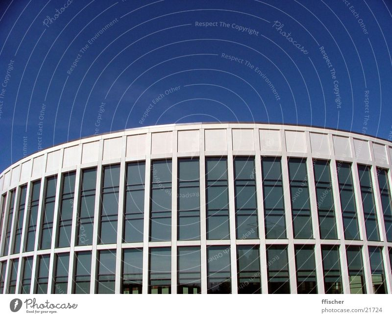 (Half-)Round Thing Simple Dark Sterile Building Architecture Modern Clarity Blue Bright Intersection Glass Berlin