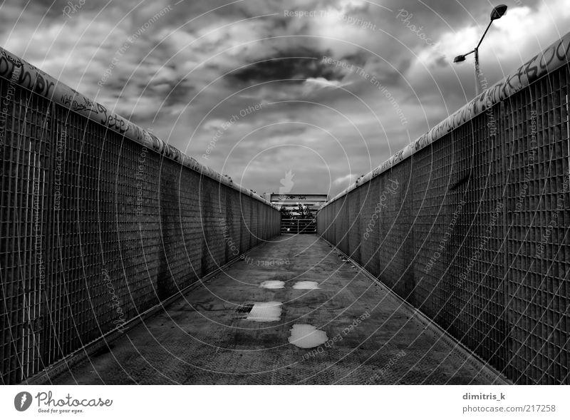 metal overpass Industry Sky Bridge Building Architecture Pedestrian Lanes & trails Metal Steel Graffiti Line Dirty Modern Gloomy Perspective footbridge walkway