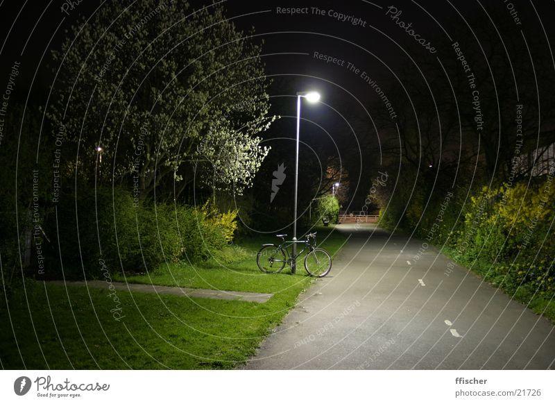 Lantern & Bicycle Light Night Long exposure Grass Green Dark Black Lamp Transport 10sec canon EOS Bright Away. clearing Street