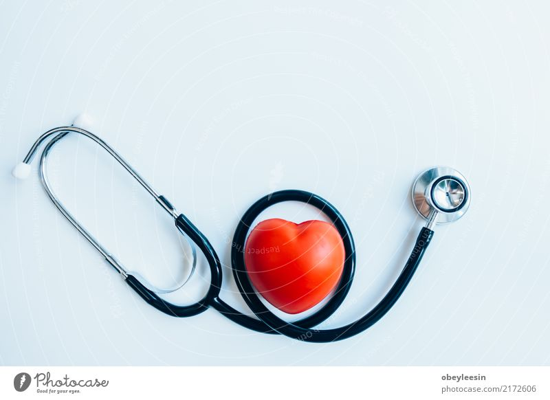 close up red heart and stethoscope on white background, Medication Doctor Hospital Man Adults Heart Red White artery attack beat cardiac cardiogram cardiologist