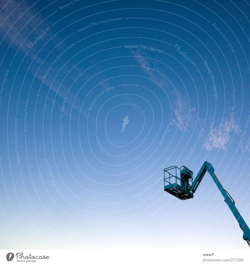 So close to heaven Construction site Machinery Sky Sky only Cloudless sky Summer Metal Steel Thin Simple Elegant Far-off places Cold Modern New Above Blue