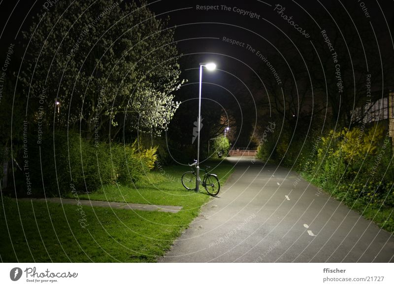 Bicycle & Lantern Light Night Long exposure Grass Green Dark Black Lamp Transport 10sec canon EOS Bright Away. clearing Street