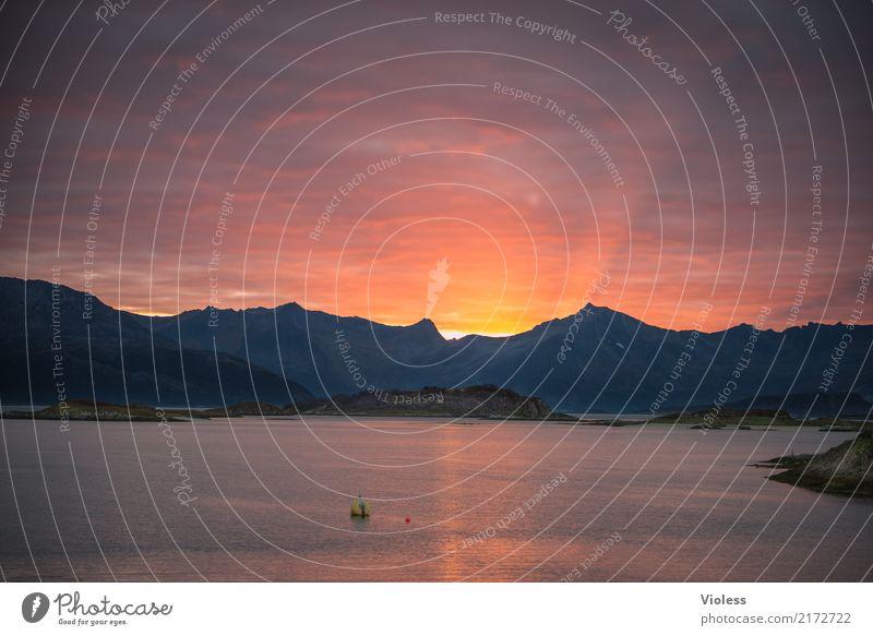 good night :-) North Sea Denmark Sunset Twilight Ocean Coast Lakeside Orange Calm Relaxation Lighting Illuminate Sunbeam Reflection