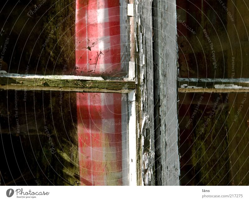 The cross House (Residential Structure) Hut Window Old Poverty Dirty Cheap Red Change Curtain Checkered Varnish Window pane Window transom and mullion