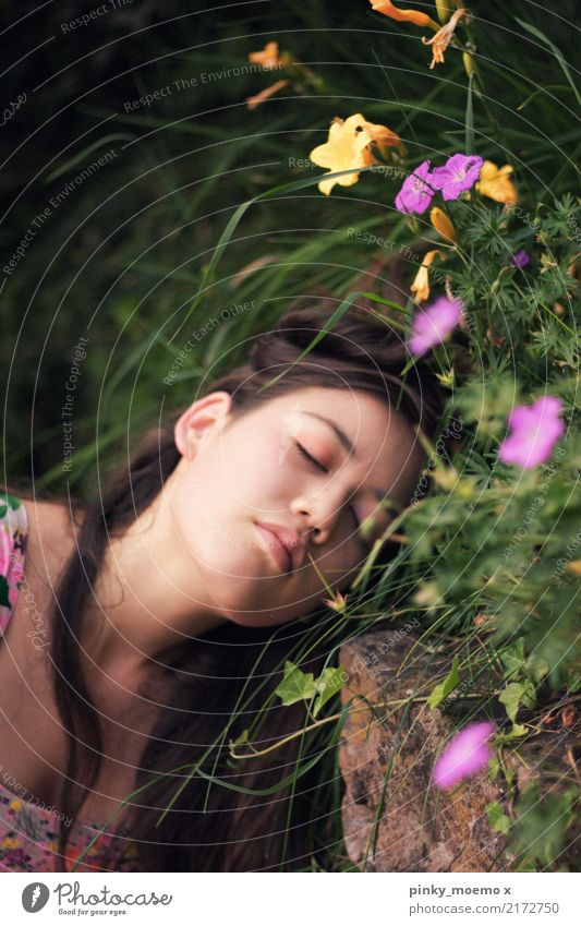 flower dream Feminine Young woman Youth (Young adults) Face 1 Human being 18 - 30 years Adults Nature Plant Flower Grass Blossom Brunette Long-haired Emotions