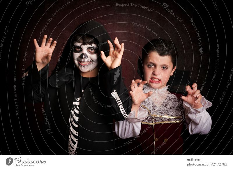 children in halloween. Child Human being Dark Lifestyle Movement Boy (child) Party Feasts & Celebrations Together Friendship Fear Masculine Infancy Fantastic