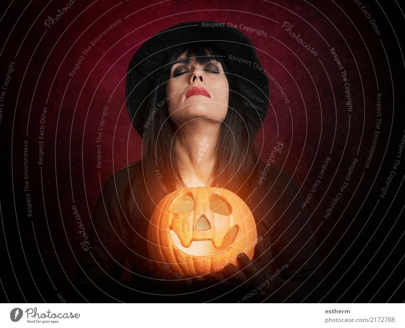 Beautiful woman like witch with pumpkin Lifestyle Feasts & Celebrations Carnival Hallowe'en Human being Feminine Young woman Youth (Young adults) Woman Adults 1