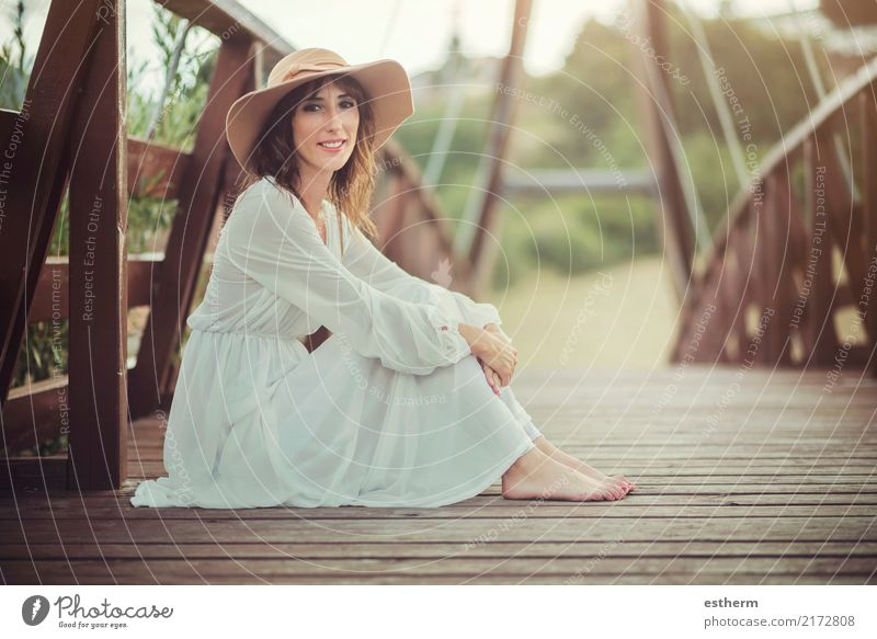 Smiling girl with hat Vacation & Travel Freedom Human being Feminine Young woman Youth (Young adults) Woman Adults 1 30 - 45 years Hat Sit Elegant Happiness