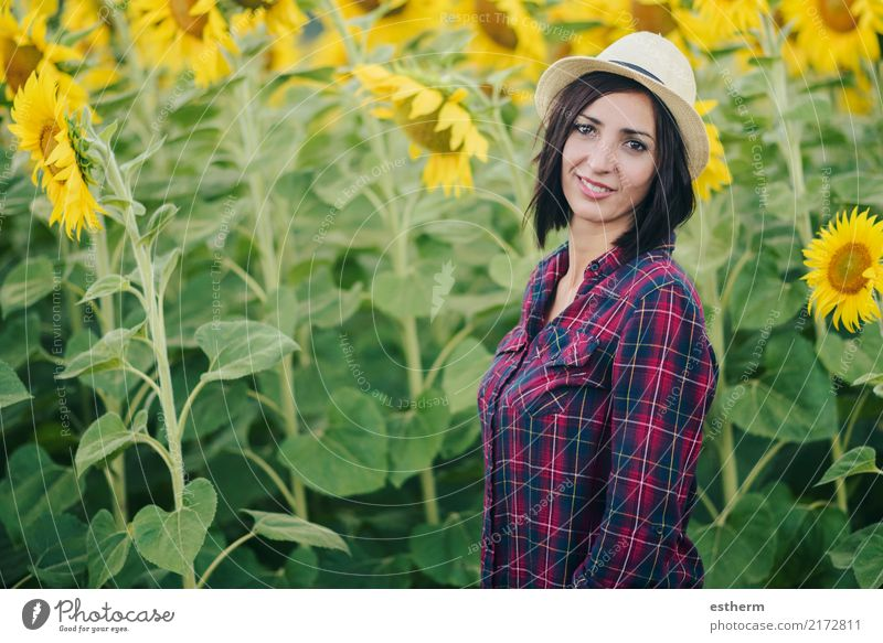 smiling girl in Sunflower Field Lifestyle Joy Beautiful Wellness Vacation & Travel Summer Summer vacation Human being Feminine Young woman Youth (Young adults)