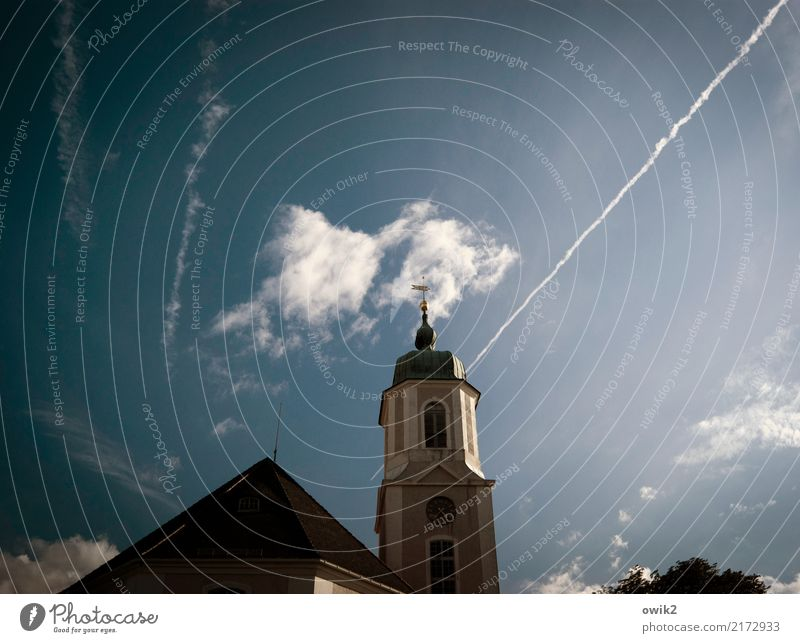 high baroque Sky Clouds Church Tower Window Exceptional Dark Large Infinity Tall Blue Lausitz forest Saxony Germany motorway church Church spire Vapor trail
