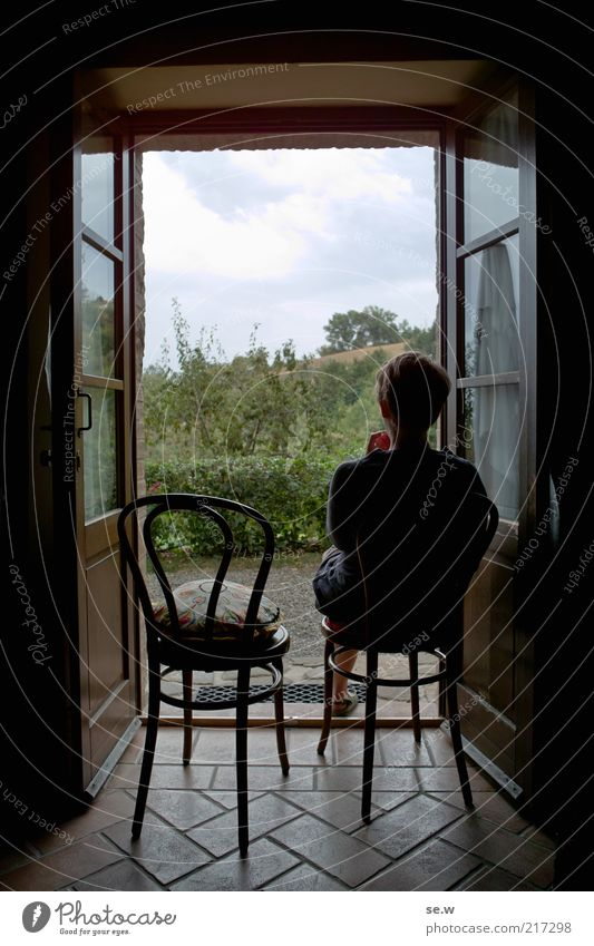 Woman Human being Plant Summer Vacation & Travel Calm Far-off places Relaxation Window Contentment Room Wait Adults Door Sit Italy