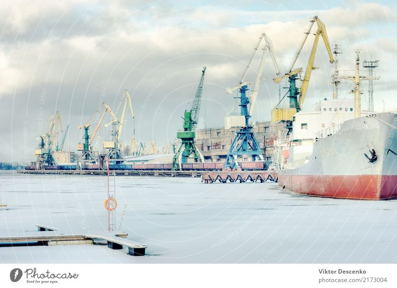 Cargo port on a frozen river Sky Nature Blue White Sun Landscape Ocean Winter Snow Business Watercraft Transport Europe Industry River Frost