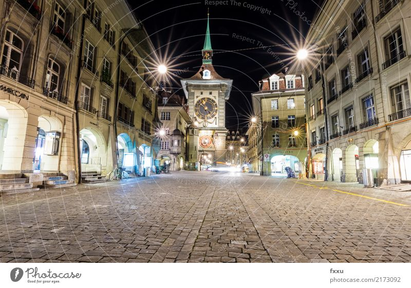 Cytglogge in Bern Canton Bern Berne Capital city Switzerland Zytglogge Clock Night Long exposure Deserted Paving stone Cobblestones Old town Light