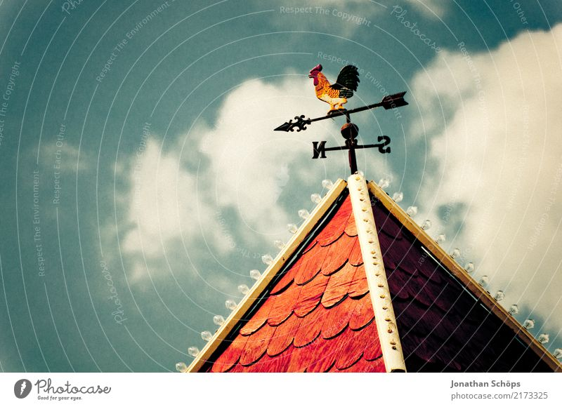 weathercock House (Residential Structure) Roof Resolve Decide Rooster Weather Weathercock Gable Sky Blue sky Clouds Vintage North South Converse Compass needle