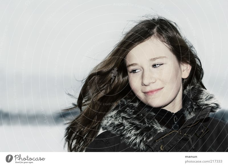 Human being Youth (Young adults) Girl Beautiful Joy Winter Face Life Cold Snow Feminine Emotions Happy Hair and hairstyles Head