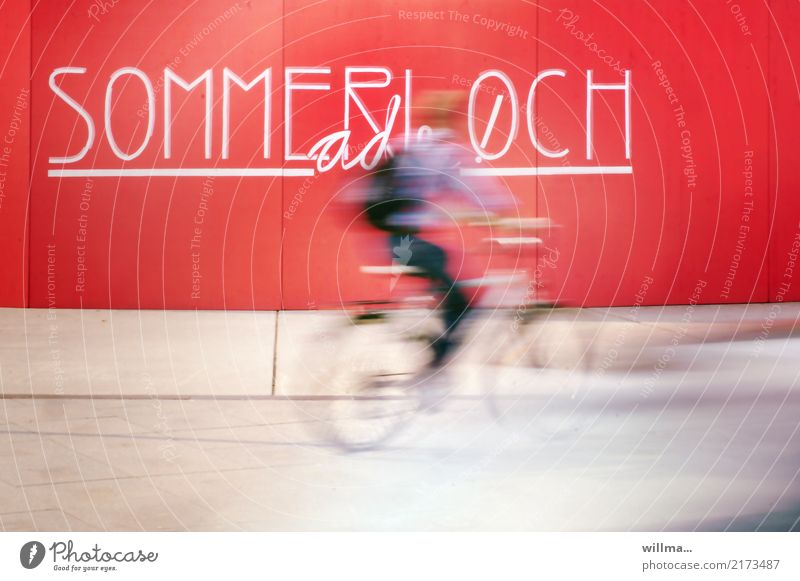 Cyclist rides fast through the summer slump cyclists swift Summer vacation time Cycling Speed Long exposure free time Wall (building) Characters and letters