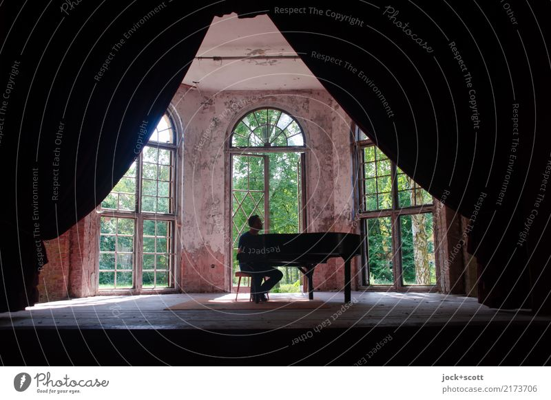 Alone with piano in a lost room Man Adults Stage Piano concert Music Summer Brandenburg Ruin Window Drape Relaxation Sit Historic Retro Emotions Moody Virtuous