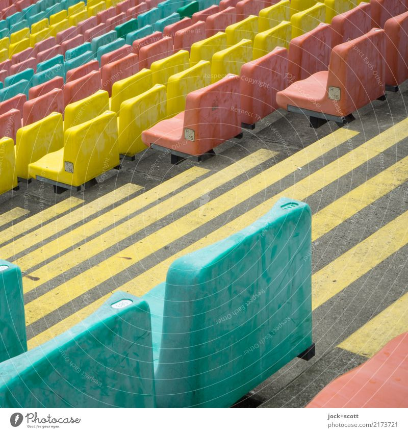 Seat order seat Style Stands Stadium Row of seats Prenzlauer Berg Stairs Corridor Seating Plastic Stripe Ground markings Authentic Many Moody Safety