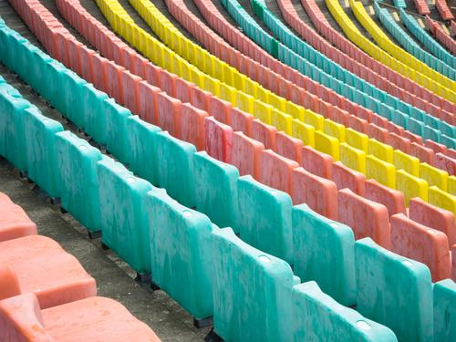 Ranking colorful Style Stands Stadium Row Sequence Prenzlauer Berg Seat Seating Row of seats Plastic Signs and labeling Line Exceptional Long Many Moody