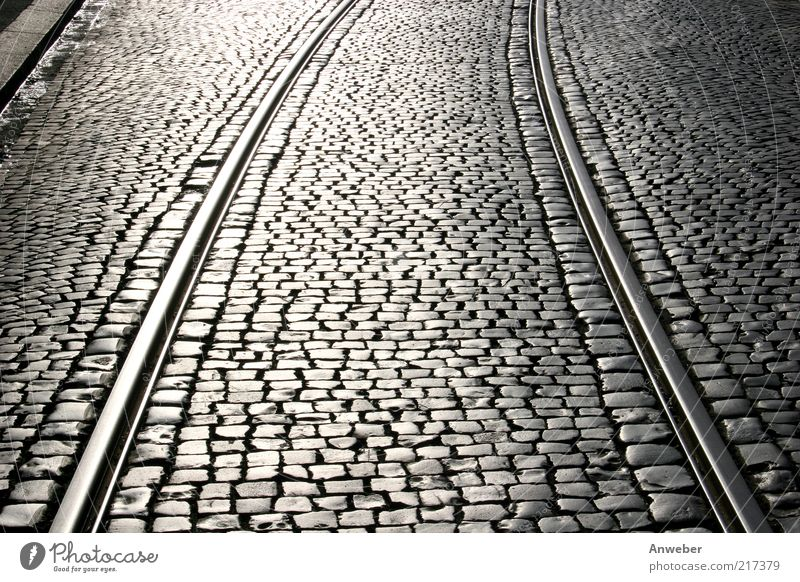 Old White Beautiful Black Street Stone Metal Germany Transport Europe Railroad tracks Traffic infrastructure Cobblestones Parallel Curve Road traffic