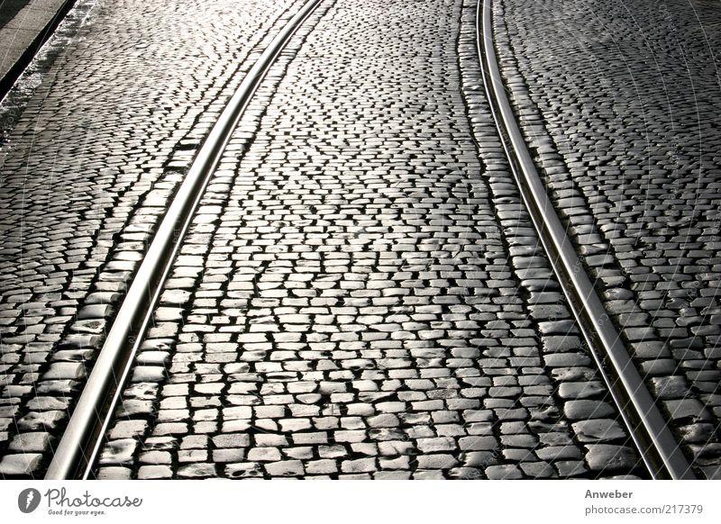 Old White Beautiful Black Street Stone Metal Germany Transport Europe Railroad tracks Traffic infrastructure Cobblestones Parallel Curve Road traffic