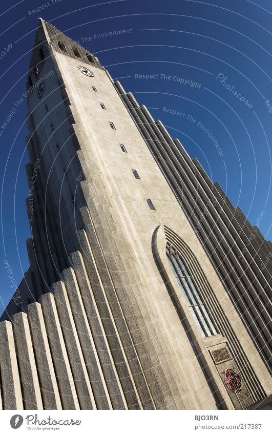 Sky Blue Architecture Religion and faith Stone Concrete Modern Church Beautiful weather Iceland Vertical Capital city Tourist Attraction Christianity