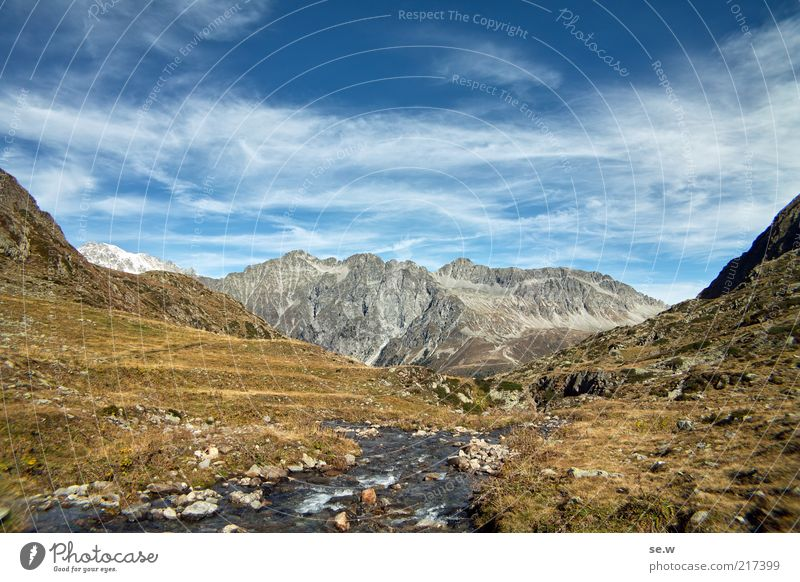 Blue Summer Calm Clouds Mountain Environment Gold Alps Infinity Elements Beautiful weather Slope Sparse Mountain meadow South Tyrol Mountain stream