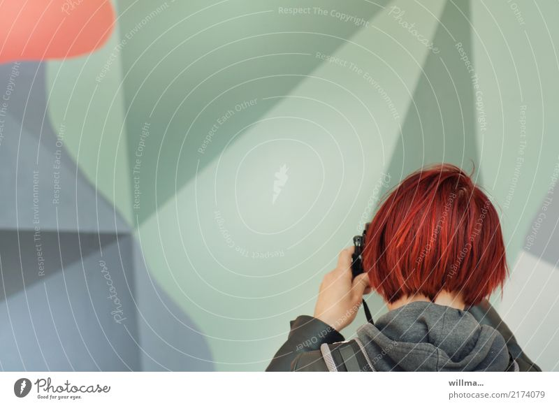 Red-haired young woman photographing art Young woman Take a photo hobby free time Short-haired Photographer Reporter Photography Camera Human being