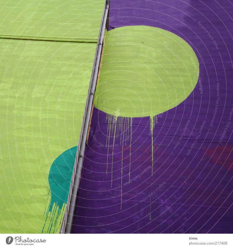 [HH10.1] - Batsch! Art Manmade structures Building Architecture Wall (barrier) Wall (building) Facade Sign Sphere Drop Simple Green Violet Daub Dye paint bag