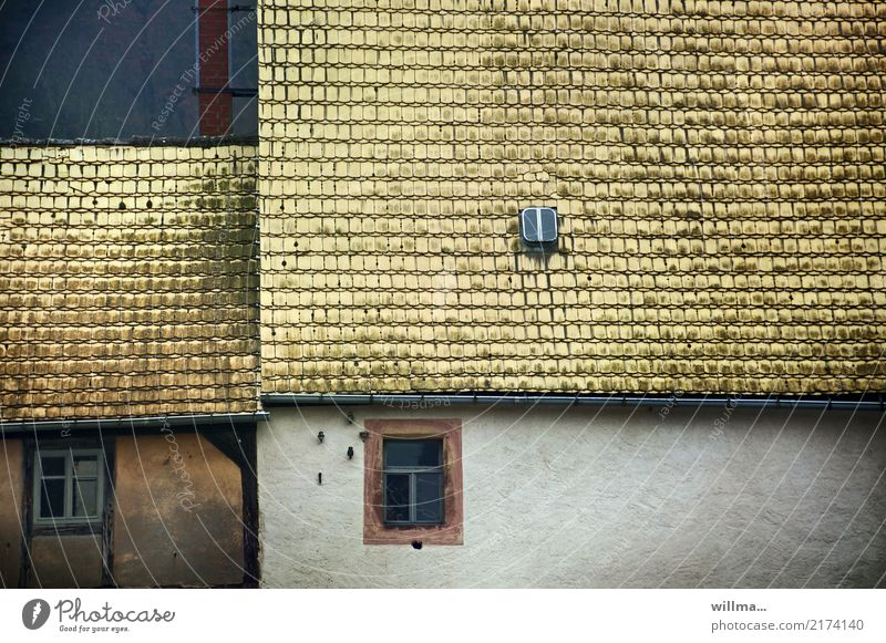 House (Residential Structure) Window Yellow Historic Village Deep Rural Roofing tile Hatch Tiled roof