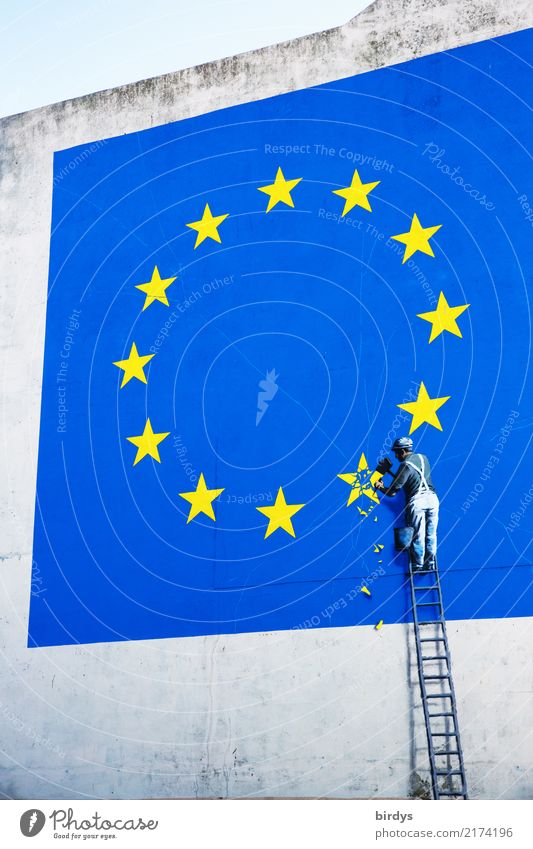 Brexit , Grexit, ...exit ... Craftsperson Ladder 1 Human being Wall (barrier) Wall (building) Sign Graffiti Euro symbol Europe emblem Star (Symbol)