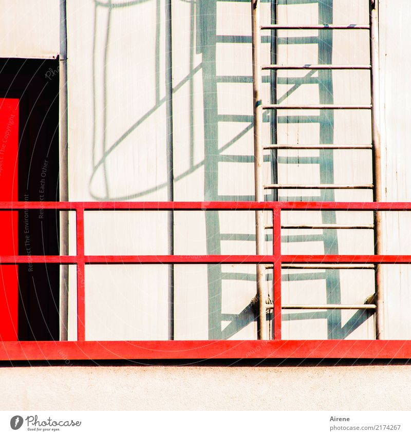 ways out Wall (barrier) Wall (building) Facade Balcony Ladder Emergency exit Rung Back door Concrete Metal Steel Line Red Black White Muddled Colour photo