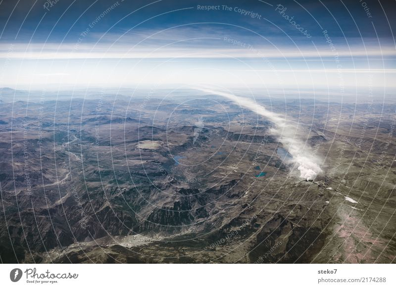 smokehead Sky Mountain Volcano Exceptional Threat Tall Smoke Exhaust gas Subdued colour Aerial photograph Deserted Copy Space top Bird's-eye view