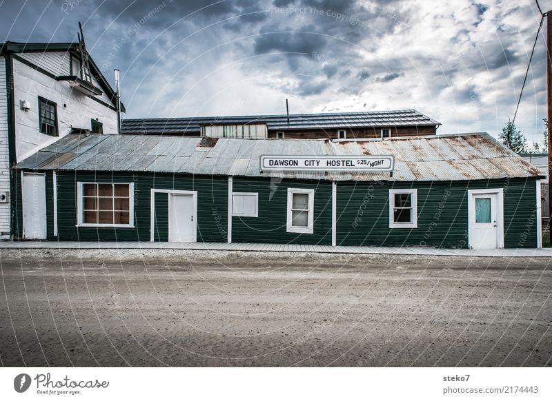 Vacation & Travel Green Facade Retro Gloomy Broken Transience Past Decline Nostalgia Small Town Hostel Alaska Yukon