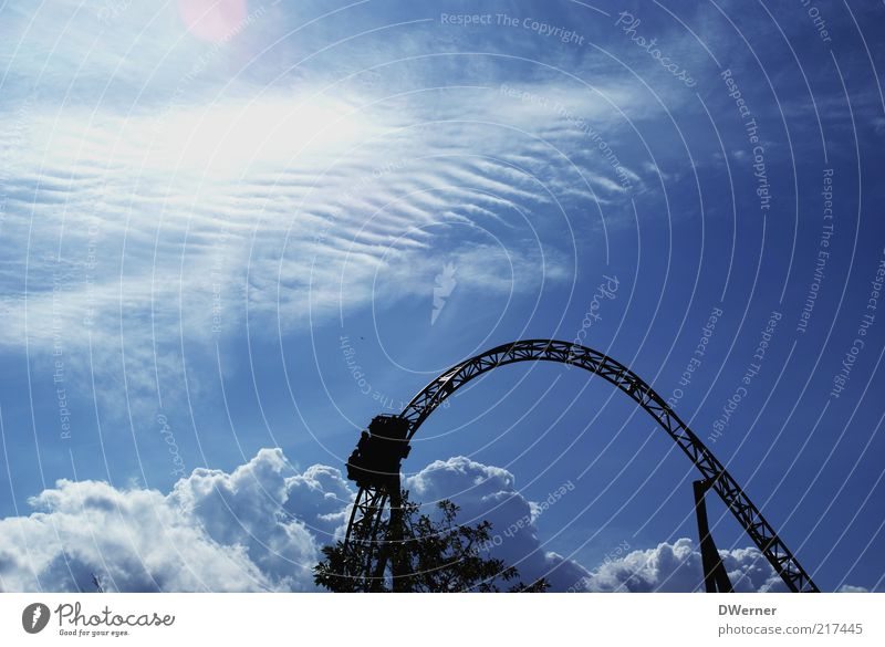 Nature Sky Blue Clouds Emotions Park Environment Leisure and hobbies Infinity Beautiful weather Heavenly Scaffolding Lens flare Roller coaster Theme-park rides