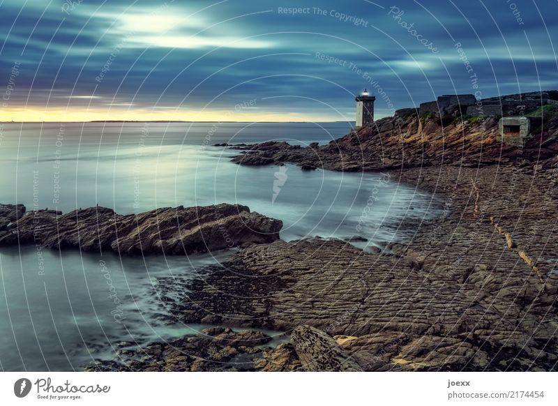 Heart burns Landscape Water Sky Sunrise Sunset Beautiful weather Rock Coast Ocean France Lighthouse Illuminate Old Maritime Blue Brown Yellow Patient Calm