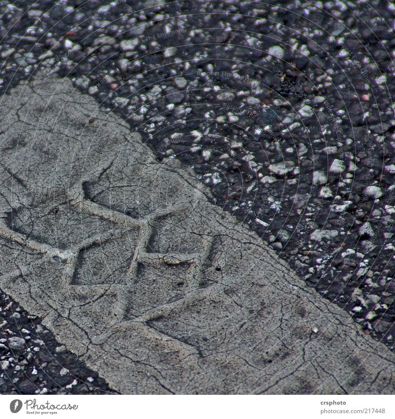 Old Street Gray Dirty Background picture Asphalt Stripe Crack & Rip & Tear Tire tread Partially visible Section of image Pebble Tracks Imprint Skid marks