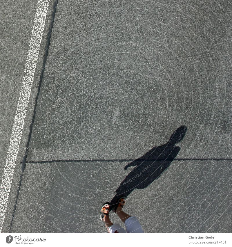 I'm walking Human being Feminine Woman Adults Legs Feet Gray Asphalt Shadow Light Sandal Silhouette Line Boundary Street Walking To go for a walk Sunlight Pants