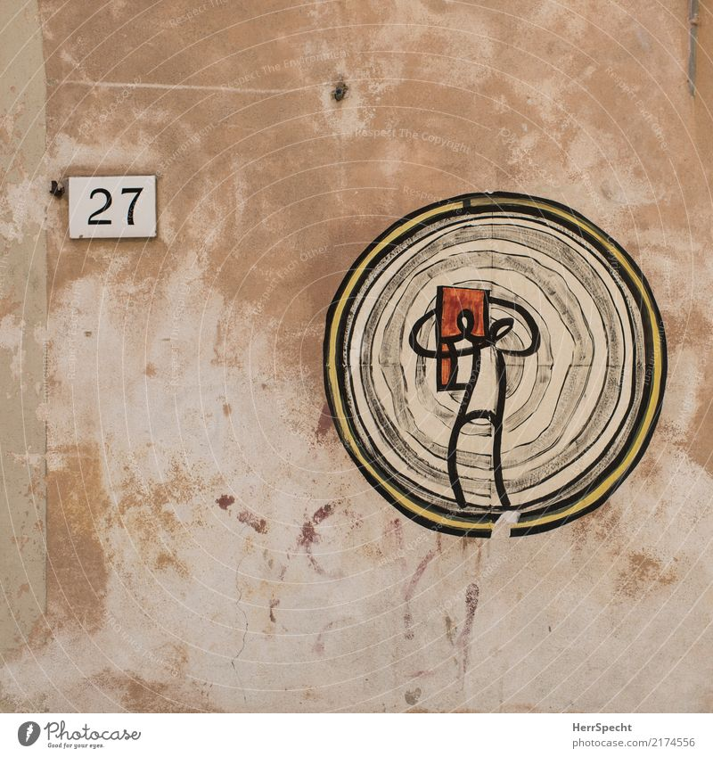 self-portrait Old town Building Wall (barrier) Wall (building) Paper Collector's item Cool (slang) adhesive art Art Target Drawing 27 Digits and numbers