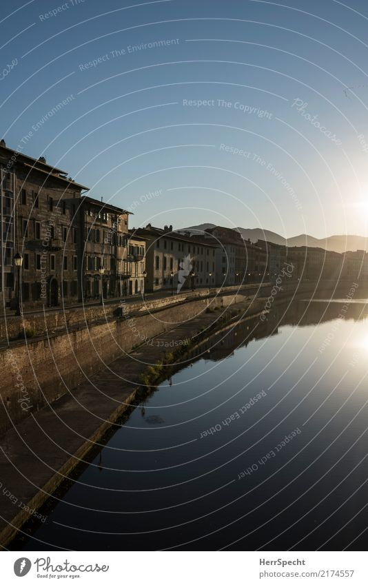 Arno morning Vacation & Travel Tourism Trip Sightseeing City trip Cloudless sky Summer Beautiful weather River bank Pisa Tuscany Downtown Old town