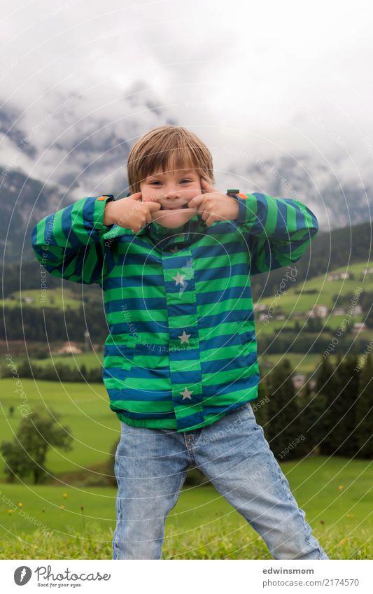 Child Human being Blue Green White Joy Mountain Autumn Funny Meadow Movement Boy (child) Small Wild Masculine Free